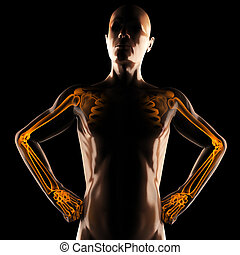 human radiography scan on black