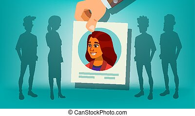 Human Recruitment Vector. Woman. Hand Picking Woman. Stand Out From Crowd. Business Team. Candidate Person. Employer Choice. Cartoon Illustration