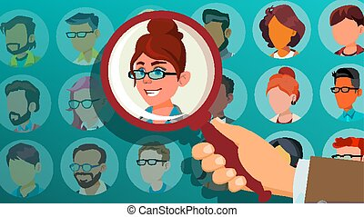 Human Recruitment Vector. Woman. Hand Picking Woman. Stand Out From Crowd. Business Team. Select Candidate Person. Pick From The Crowd. Employer Choice. Cartoon Illustration