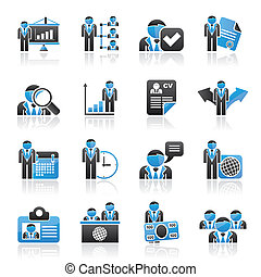 human, recurso, e, emprego, ícones