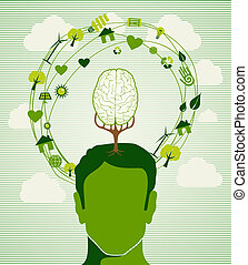 Eco friendly renewable resources ideas tree illustration. This vector illustration is layered for easy manipulation and custom coloring