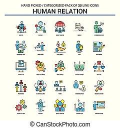 Human Relation Flat Line Icon Set - Business Concept Icons Design