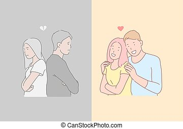 Human relations, disagreement and harmony, opposite emotions concept. Enamored man and woman in quarrel and harmonious relationship, offended young people and happy couple in love. Simple flat vector