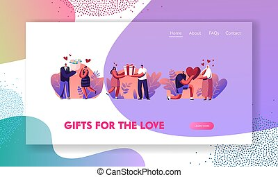 Human Relations, Loving Couple Gifts Website Landing Page. Man Giving Present to Happy Surprised Woman on Valentines Day or Birthday. Characters Love Web Page Banner. Cartoon Flat Vector Illustration