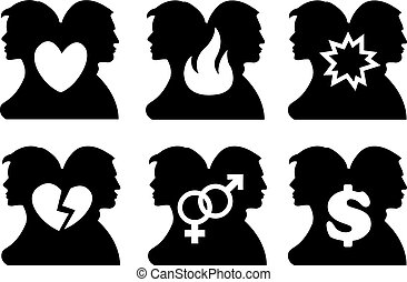 Vector illustration of silhouette of back to back two persons and a symbol in between them. Concept for human relationship.