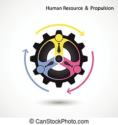 Human resource and business & industrial propulsion concept. Vector illustration