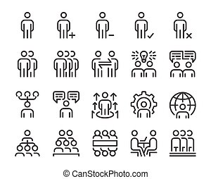 human resource and business people line icon set - human ...
