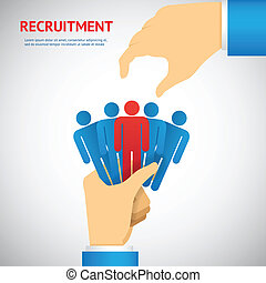 Human resource and recruitment concept. Hand select one persons of stack