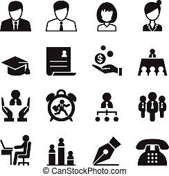 Human resource & Business Management icons set