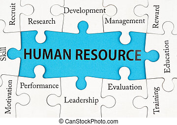 Human resource concept words on group of jigsaw puzzle pieces