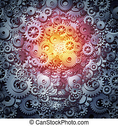 Human resource intelligence business concept as a mind and face machine made of gears and cogs as a technology or psychology metaphor for invention and industry inspiration as a 3D illustration.