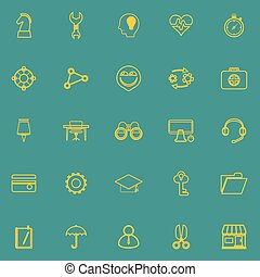 Human resource line icons yellow color