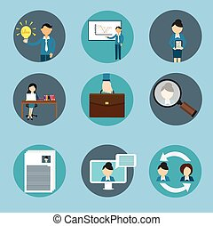 human resource management business icon set training