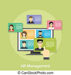 Human Resource Management - flat style banner design of...