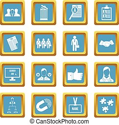 Human resource management icons azure