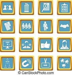 Human resource management icons azure