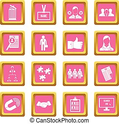 Human resource management icons pink