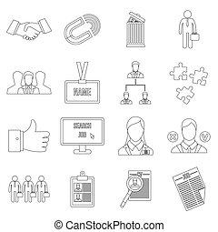 Human resource management icons set