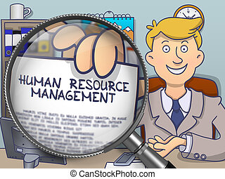 Human Resource Management through Magnifier. Doodle Design.