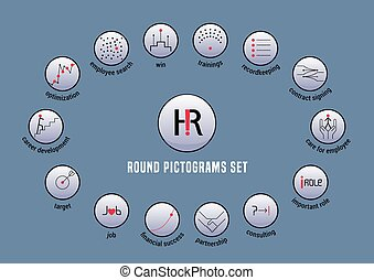 Human resource vector icons set