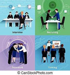Human resources 4 flat icons square