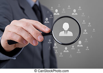 Human resources, CRM, data mining and social media concept - officer looking for employee represented by icon. Gender discrimination in employees selection.