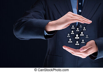 Human resources, customer care, patron, care for employees, life insurance and marketing segmentation concepts. Protecting gesture of businesswoman or personnel and icons representing group of people.