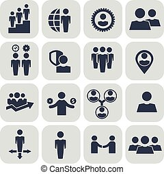 Human resources and management icons set.