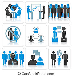 Human Resources and Management Vector Icons Set.