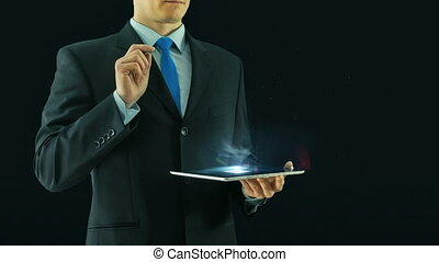Human resources black management concept business man selecting virtual interface pointing on glass icons hologram from tablet pad