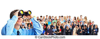 Human resources. Businessman and a large group of business...