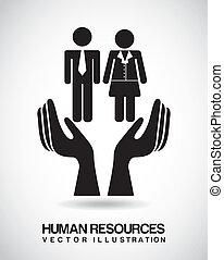 human resources over beige background vector illustration