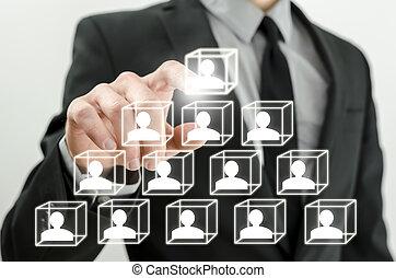 Human resources concept - Closeup of boss arranging business...