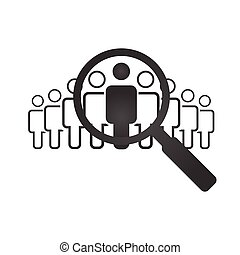 Human resources concept, target market and audience, focus group, public relations, vector illustration isolated on white background.