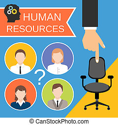Human Resources Concept - Human resources recruiting...