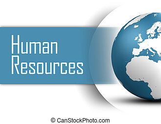 Human Resources concept with globe on white background