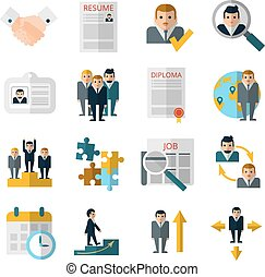 Human resources flat shadow icons set