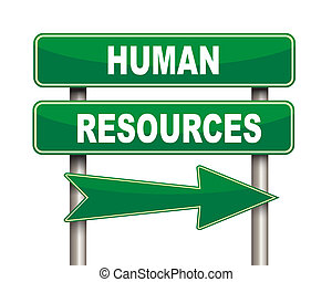 Human resources green road sign - Illustration of green...