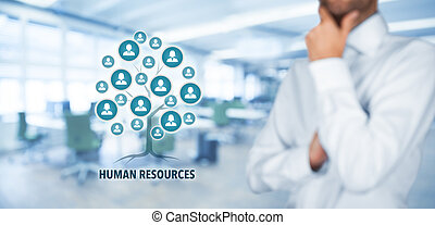 Human resources (HR) concept. Human resources is a root of a...