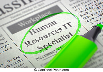 Human Resources IT Specialist Hiring Now. 3D.