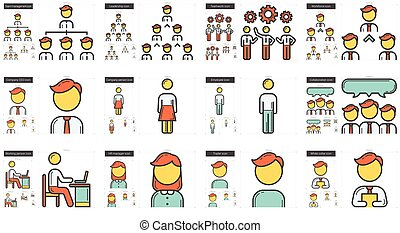Human resources line icon set. - Human resources vector line...