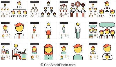 Human resources line icon set.