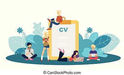Human resources management concept, searching professional staff, analyzing resume papers, work. Flat vector illustration.