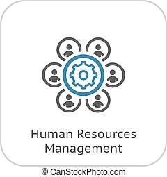 Human Resources Management Icon. Business Concept. Flat Design.