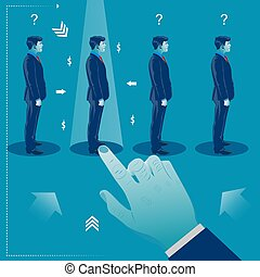 Human resources management select employee. Recruitment. Business concept vector illustration
