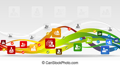 Human resources mobile applications vector abstract background