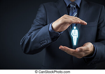 Human resources officer choose employee standing out of the...