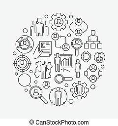 Human resources outline illustration
