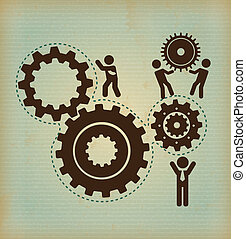 human resources over pattern background vector illustration