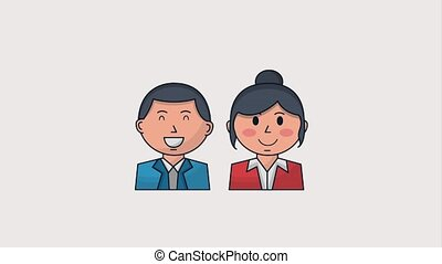 human resources people - business man and woman character...